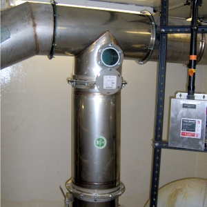 Odor control vent pipe at New York wastewater treatment plant